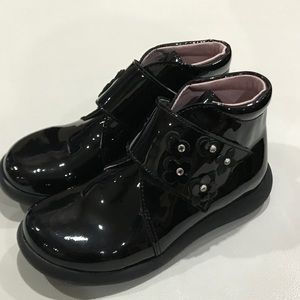 Aster Girls Boots Black Pattern Leather